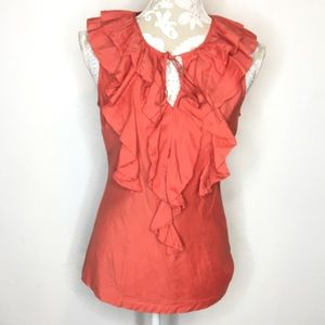 Fossil Ruffle Silk Blouse Sleeveless Rust Red 734